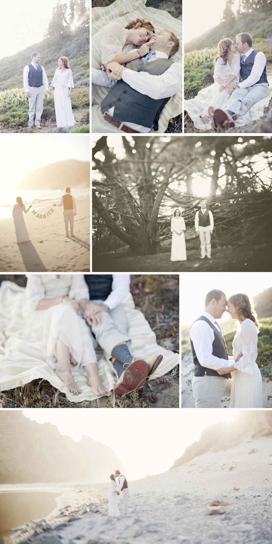 Pfeiffer Beach, Elopement, Big Sur, Wedding, Vintage