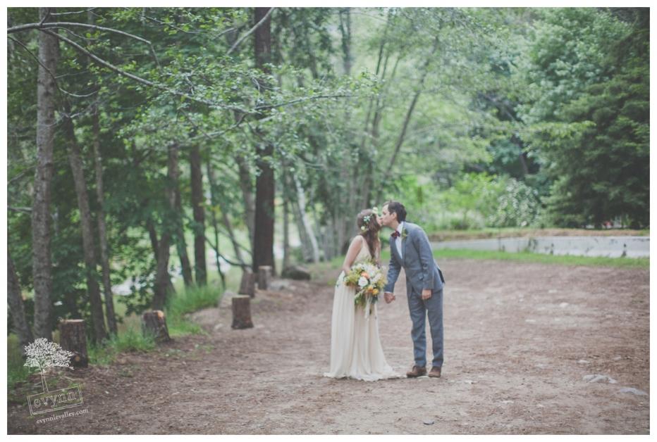 Big Sur Forest Wedding, Big Sur Wedding Photography, Kissing, Wedding Couple, Rustic, Bohemian