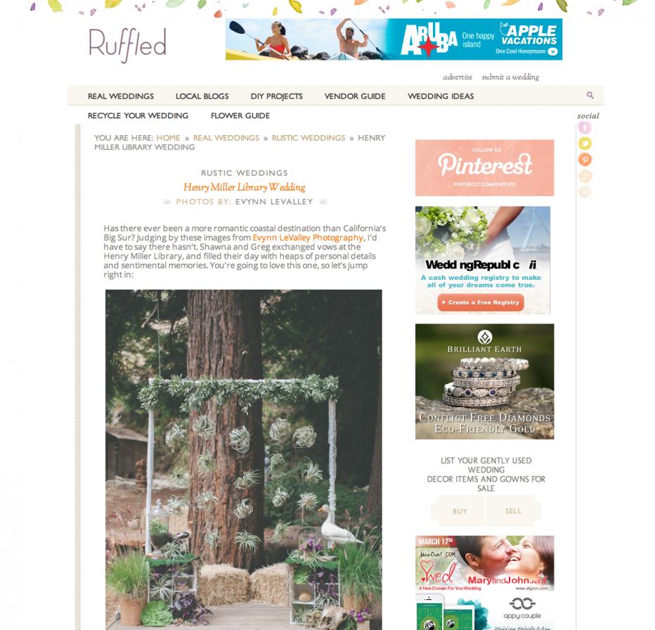 Big Sur Wedding, Henry Miller Library, Redwoods, Rustic, California, Destination, Ruffled Blog